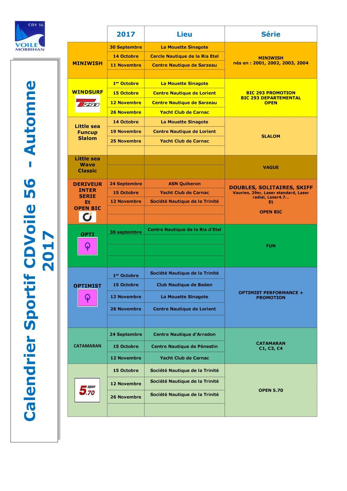 Calendrier Départemental Automne 2017 CDV56